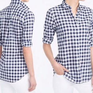j. crew   navy gingham button-down boy fit shirt